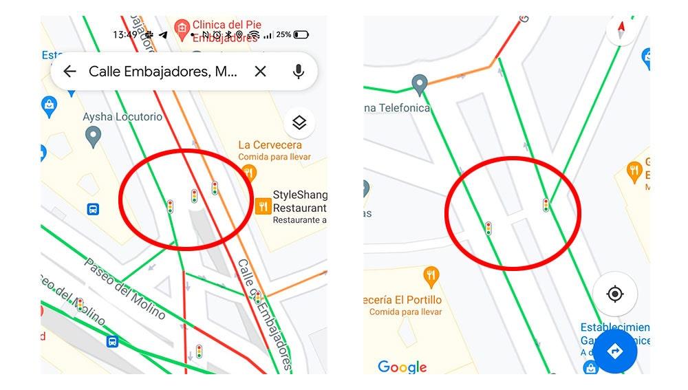 Semáforos en Google Maps