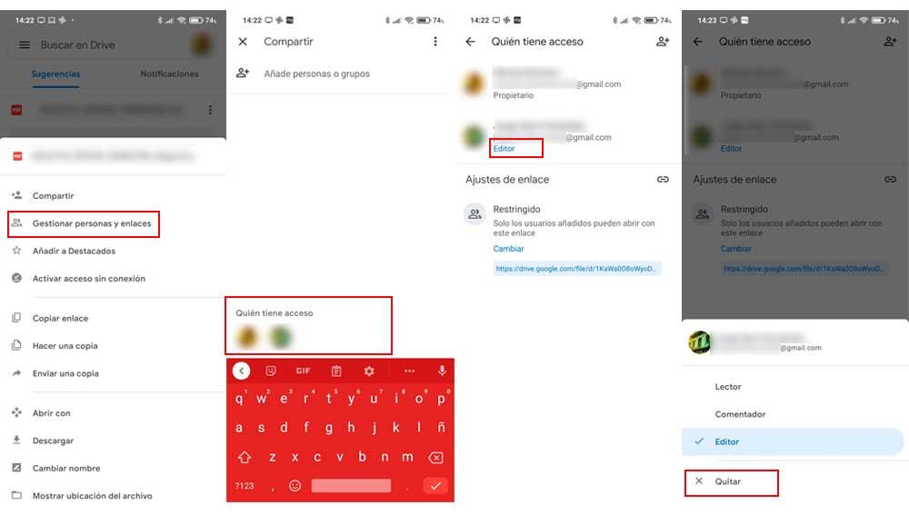 Dejar de compartir archivos en Google Drive
