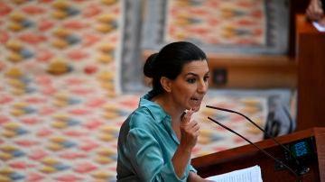 Rocío Monasterio, durante su intervención en la Asamblea de Madrid
