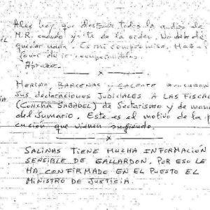 La nota que Bárcenas entregó a otro preso para que destruyera información sobre el PP
