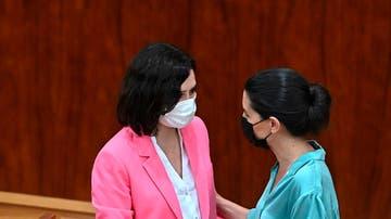 La presidenta de la Comunidad de Madrid, Isabel Díaz Ayuso, junto a la líder de Vox, Rocío Monasterio.