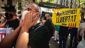 Protestas ante el Liceo en Barcelona