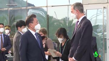 """Vídeo manipulado - """"Llevo dos meses en casa de mi suegra"""": la 'verdadera' conversación entre el rey y el presidente de Corea"""