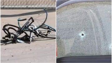 Estado de las bicicletas tras el accidente /disparo en el vehículo del conductor