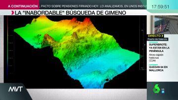 El gráfico que muestra el complejo fondo marino en el que se buscaba a Tomás Gimeno