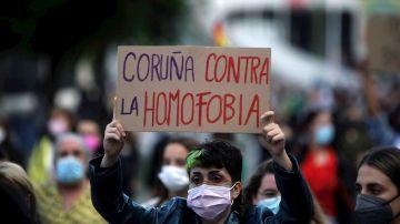 Manifestación que ha recorrido las calles de A Coruña en protesta por el asesinato de Samuel Luiz