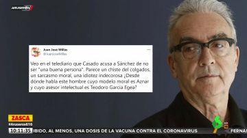 """La réplica de Juan José Millás a Casado por acusar a Sánchez de no ser """"buena persona"""": """"Su modelo moral es Aznar"""""""