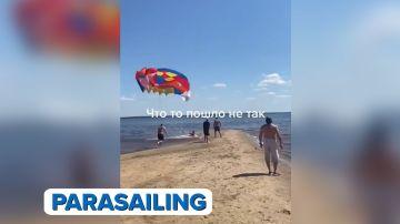 Captura del vídeo viral del parasailing de Aruser@s
