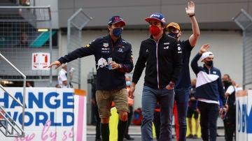Pérez, Alonso y Verstappen