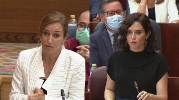 Mónica García e Isabel Díaz Ayuso en la Asamblea de Madrid