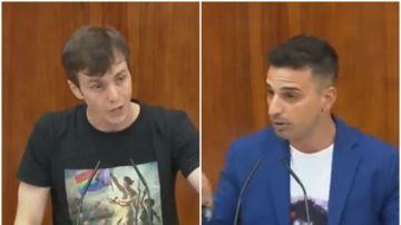 Eduardo Rubiño (Podemos) y Santiago Rivero (PSOE), en un pleno de la Asamblea de Madrid