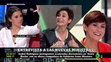 Isabel Rodríguez e Irene Montero en laSexta Noche