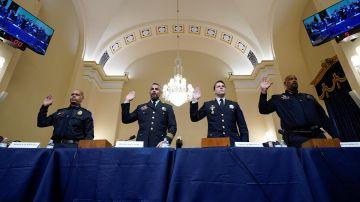 Cuatro policías prestan juramento para testificar en la audiencia del comité selecto de la Cámara sobre el ataque del 6 de enero al Capitolio.