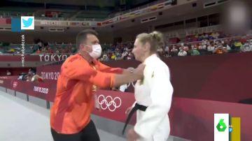 Las dos bofetadas virales de un entrenador a la judoca alemana antes de un combate en los Juegos Olímpicos