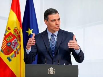 El presidente del Gobierno, Pedro Sánchez, en una comparecencia en Moncloa.