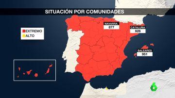 Mapa de la situación del COVID-19 en España