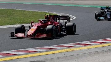 Carlos Sainz y Lewis Hamilton en la clasificación del Gran Premio de Hungría