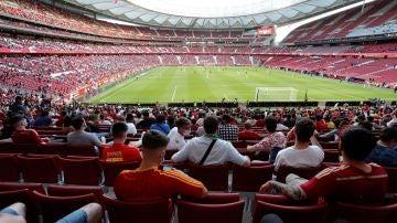 Aficionados durante el partido amistoso entre España y Portugal