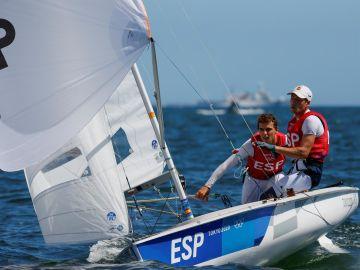 Jordi Xammar y Nicolás Rodríguez en la final de 470 de los Juegos Olímpicos