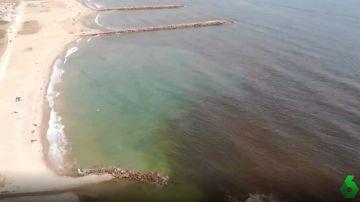 Imagen desde el aire de la mancha negra generada por las algas cerca de la costa.