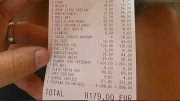 La cuenta que ha pagado en el restaurante de Málaga