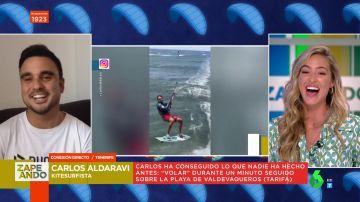 Carlos Aldavari, el kitesurfista de los récords tras 'volar' durante un minuto sobre una playa de Tarifa:
