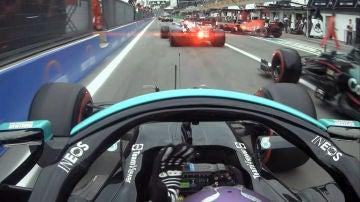 Tráfico en el 'pit lane' del GP de Italia