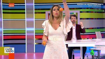 """""""No he mirado las pelotas"""": Valeria Ros intenta hacer malabares con mandarinas en pleno plató"""