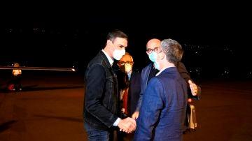 El presidente del Gobierno, Pedro Sánchez, a su llegada a La Palma