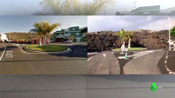 Imagen del antes y el después de Todoque