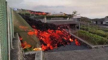 Imagen del colegio destruido por la lava en La Palma