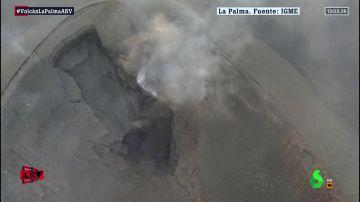 Imagen aérea del cráter principal del volcán de La Palma