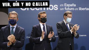 Casado, junto al presidente de al Xunta, Alberto Núñez Feijóo, y el expresidente Mariano Rajoy