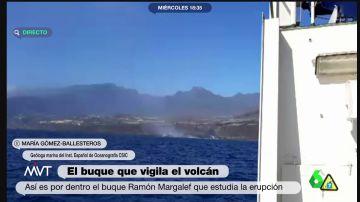 Así vivieron desde el buque más cercano la caída de la lava al mar