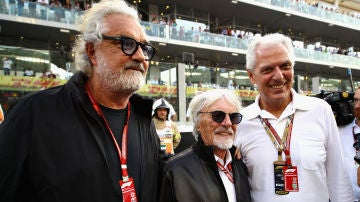 Flavio Briatore, Bernie Ecclestone y Marco Tronchetti Provera en Abu Dhabi en 2018