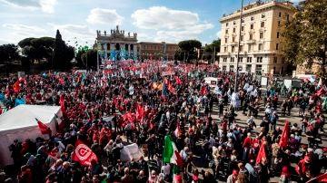 Manifestación en Roma contra el fascismo