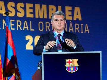 Joan Laporta, en la Asamblea General Ordinaria del Barça