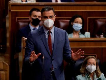 Pedro Sánchez interviene durante la sesión de control al Gobierno en el Congreso de los Diputados
