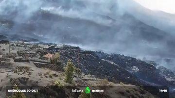 Avance de la lava en La Laguna