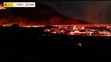 Logran grabar las coladas Pahoehoe y el mar de lava formado en el interior de La Palma
