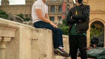 Tom Holland y El Rubius durante el rodaje