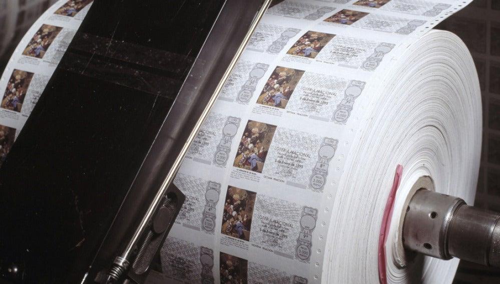 Décimos de la Lotería de 'El Niño' en la imprenta