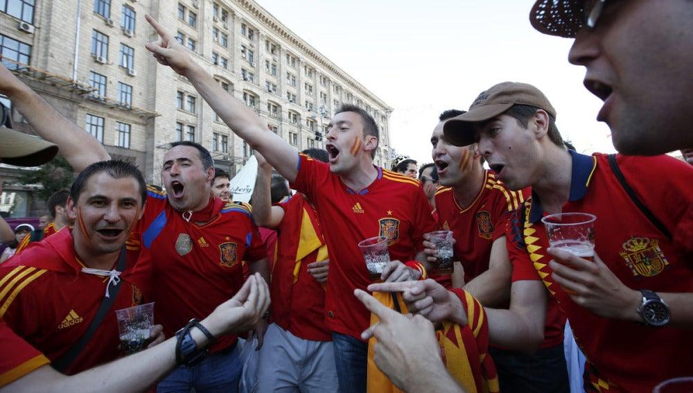 Aficionados de España durante la última Eurocopa de 2012