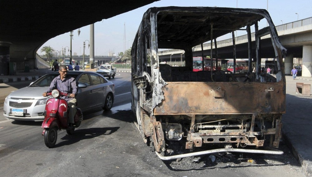 Restos de los disturbios en El Cairo