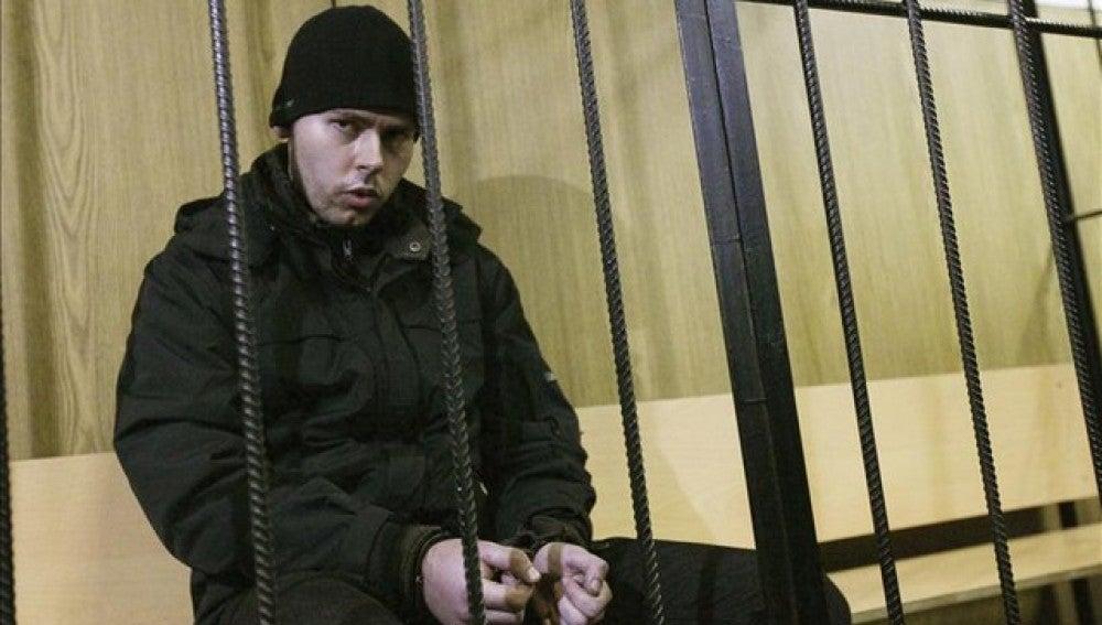 Dmitry Vinogradov , en la celda de un juzgado de Moscú