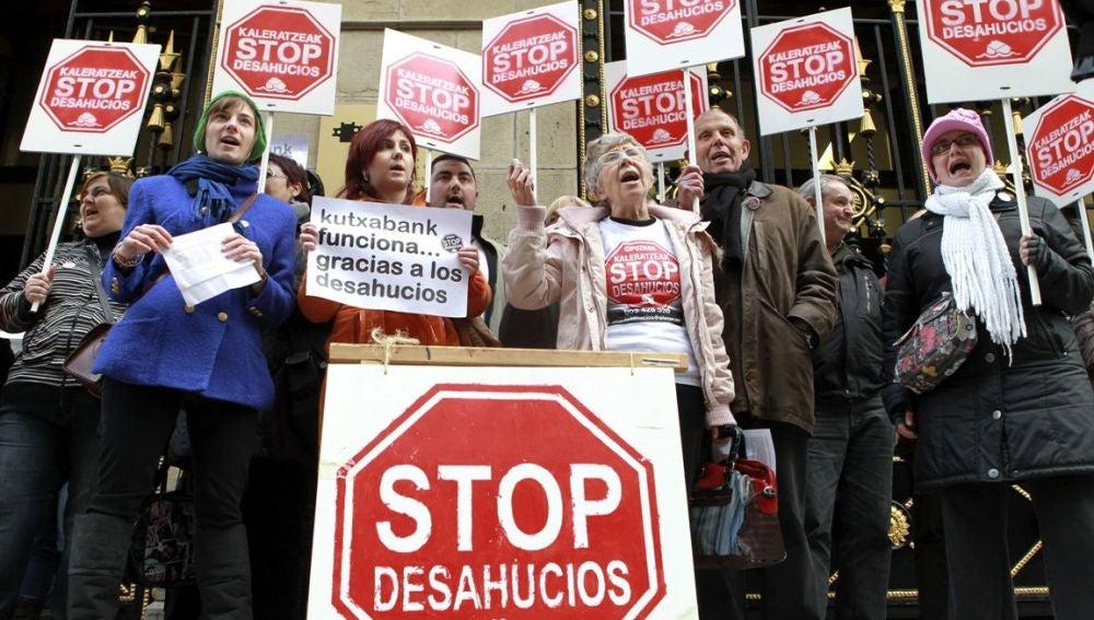 Protesta contra los desahucios en San Sebastián