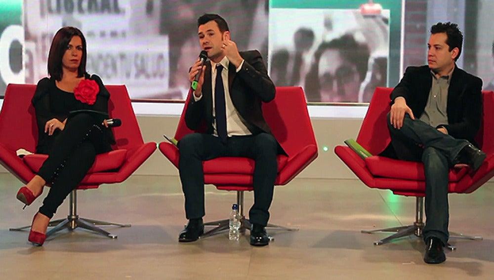 Iñaki López junto a Sandra Fernández y Mario López
