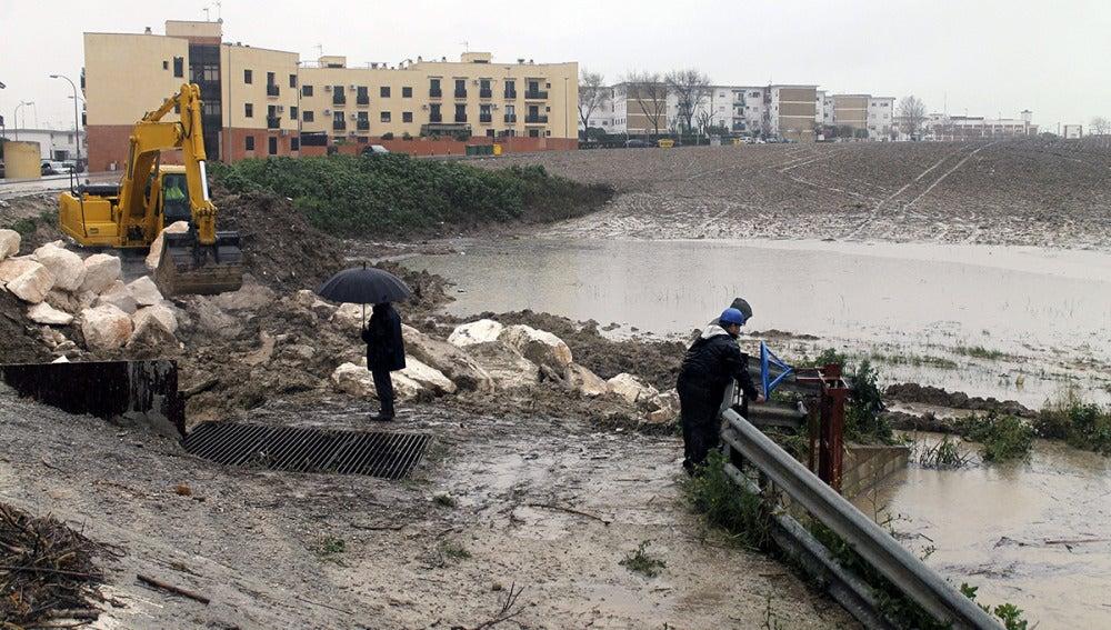 Una excavadora mueve tierra para levantar un dique.