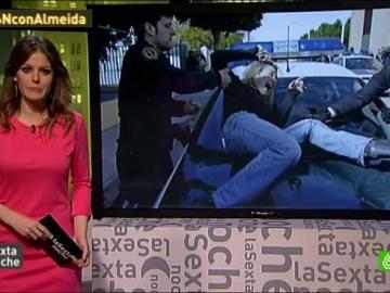 Isabel Monrós protesta ante la vigilancia de Guardia Civil