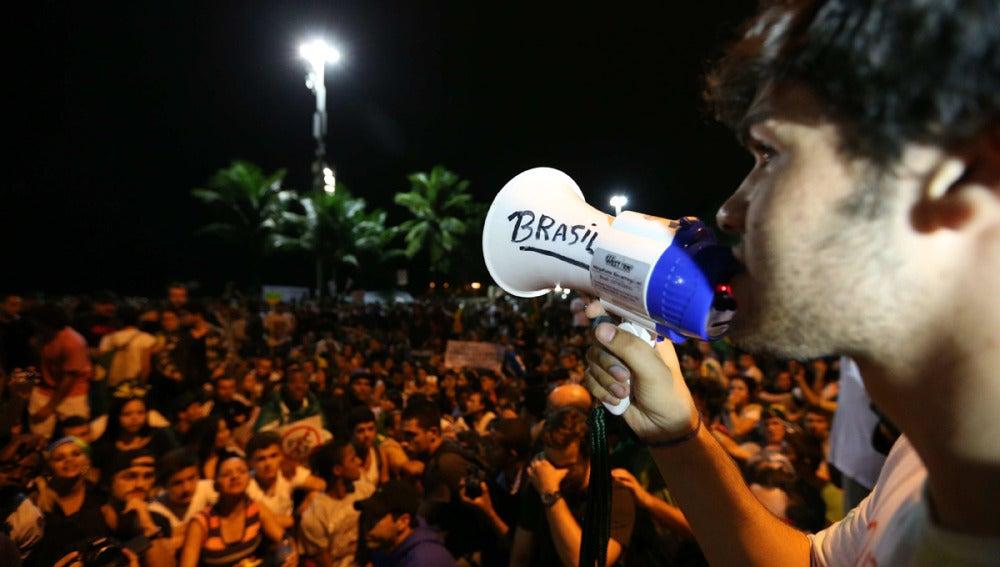 Manifestación en Río de Janeiro, Brasil.